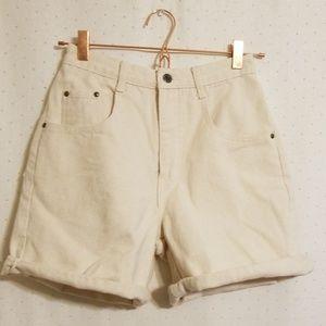 Vintage | Cream High Rise Denim Shorts